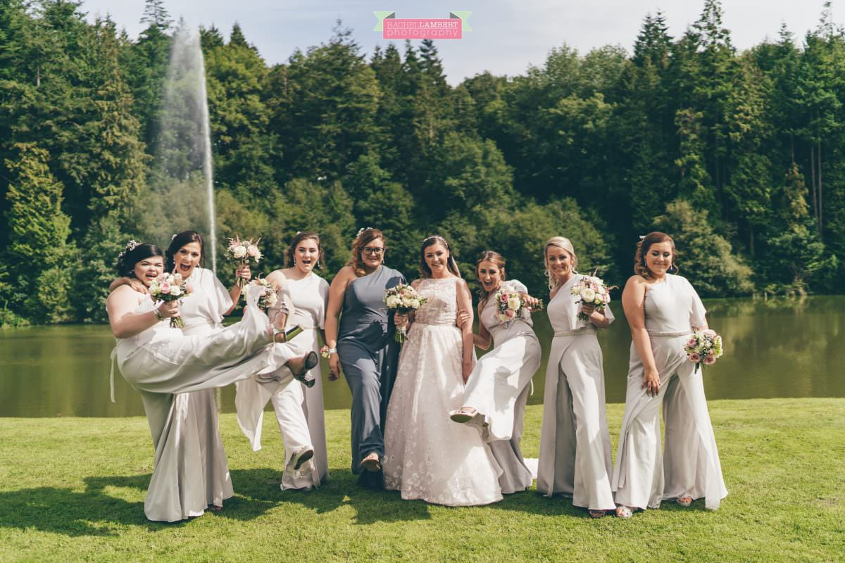 canada lake lodge bride and bridesmaids in jumpsuits