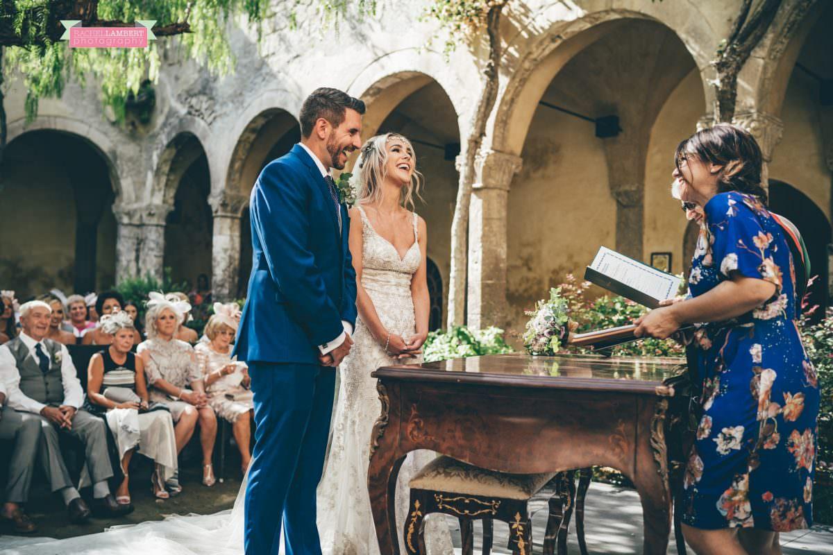 wedding photographer sorrento italy bride and groom chiostro di san francesco laura may bridal ceremony