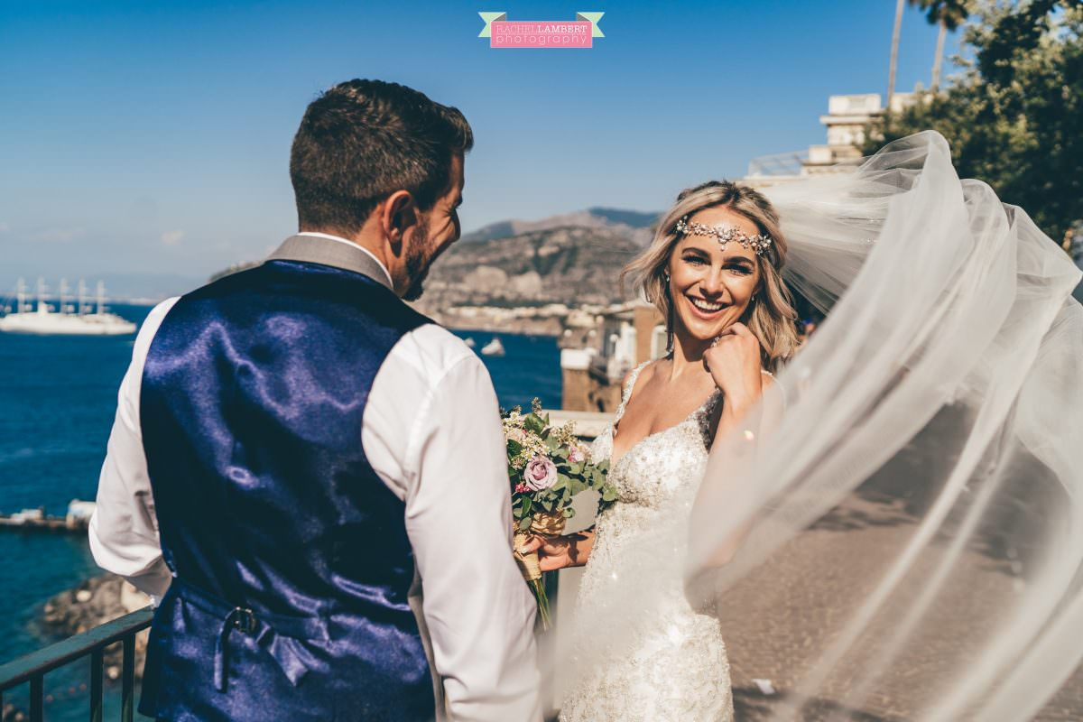 wedding photographer sorrento italy bride and groom chiostro di san francesco long veil laura may bridal