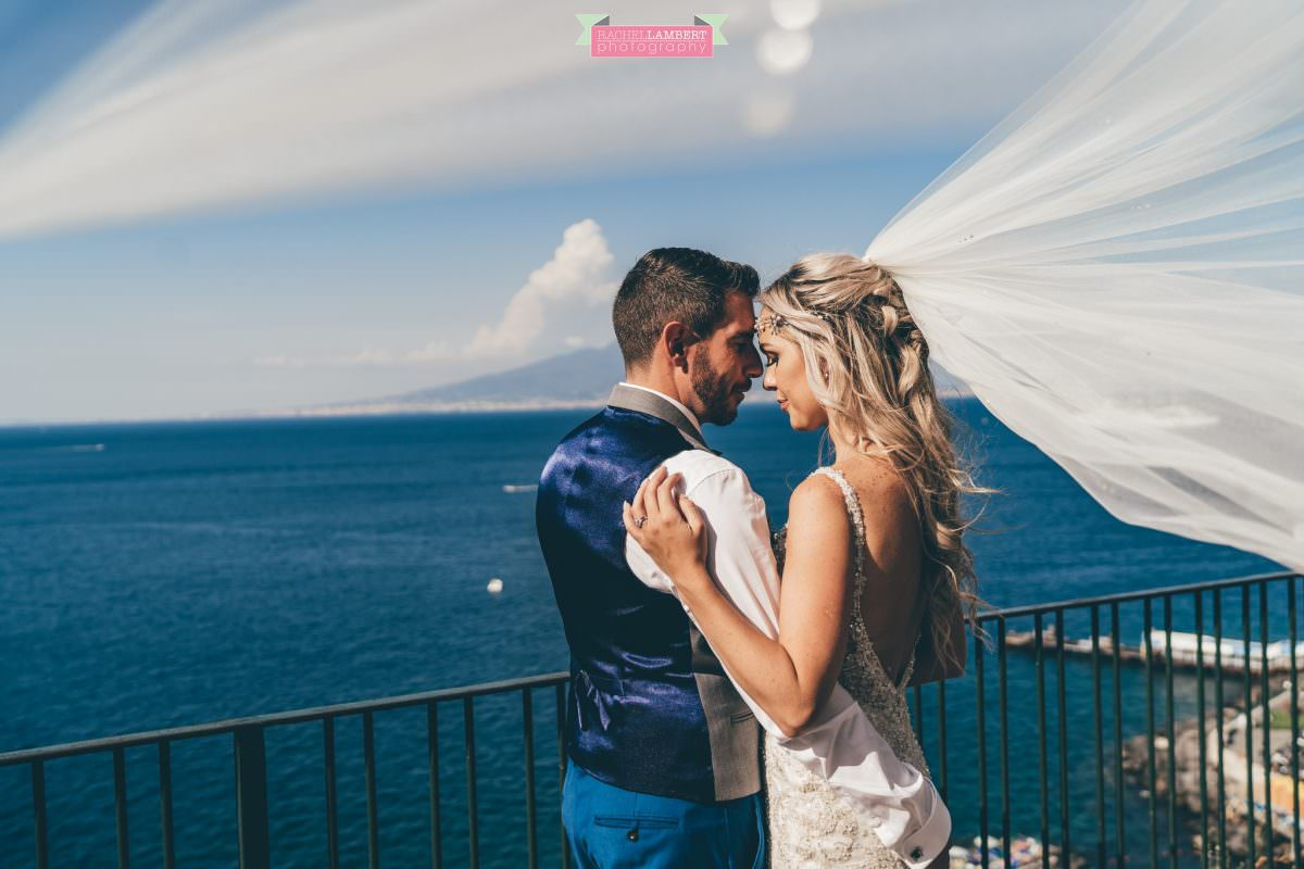 wedding photographer sorrento italy bride and groom chiostro di san francesco long veil laura may bridal