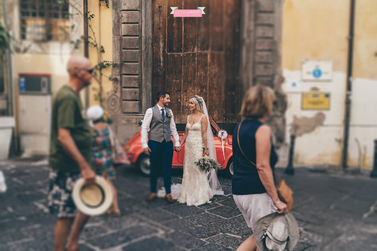 wedding photographer sorrento italy bride and groom italian door tilt shift