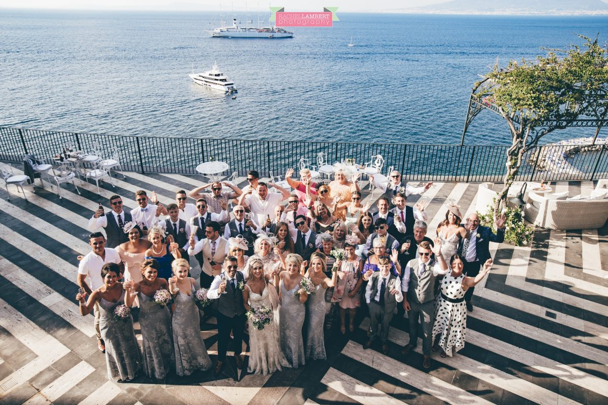 wedding photographer sorrento italy villa antiche mura bride and groom big group shot