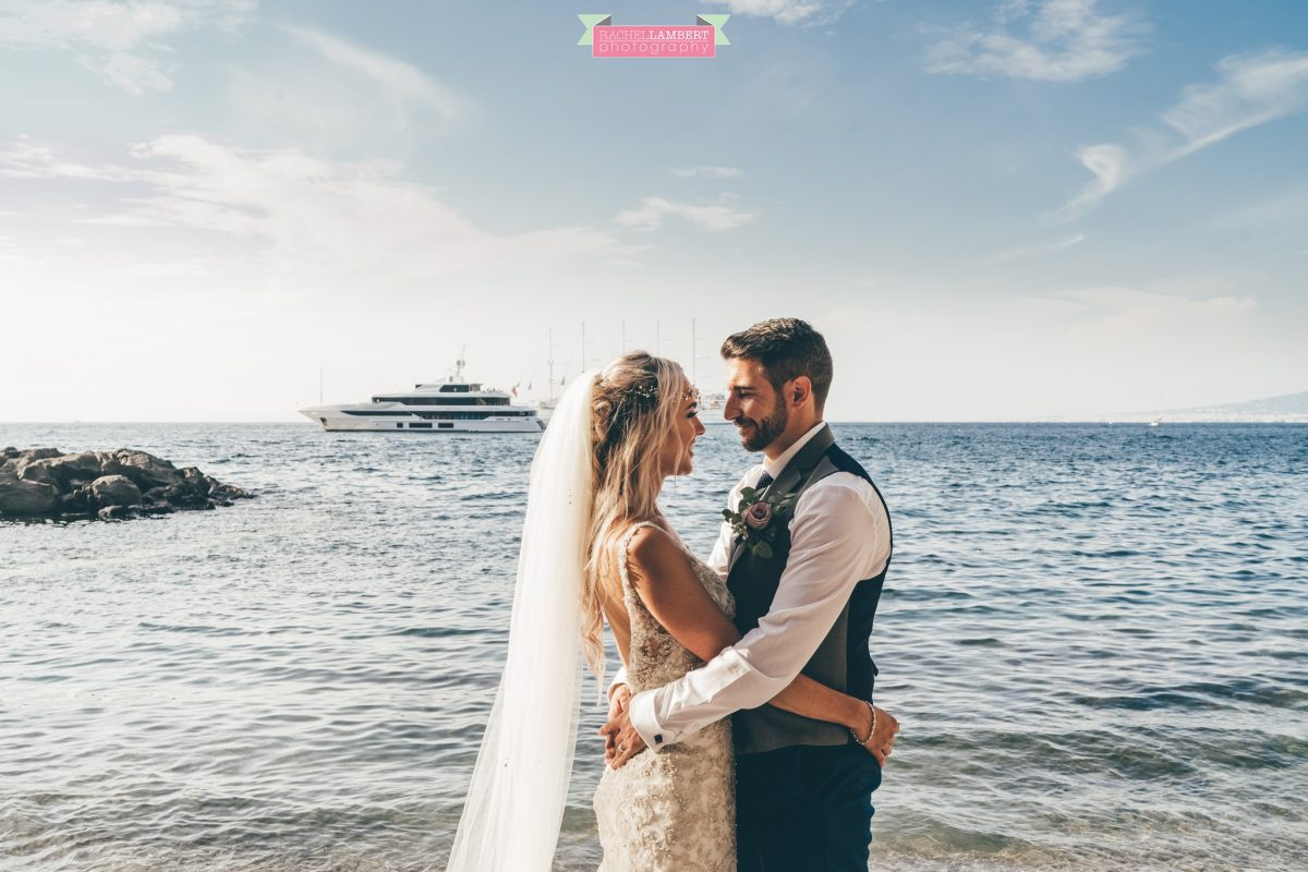 wedding photographer sorrento italy villa antiche mura bride and groom beach