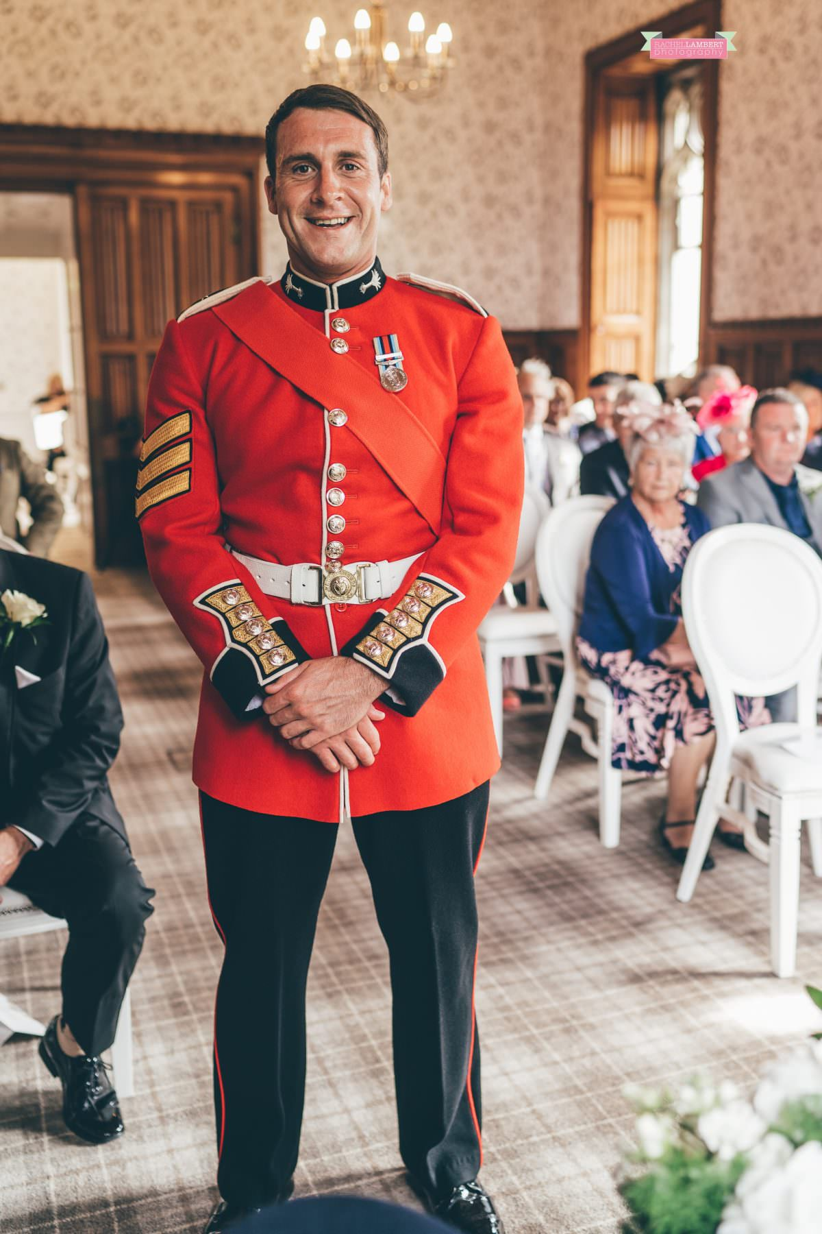 hensol castle wedding photographer groom welsh royal guards