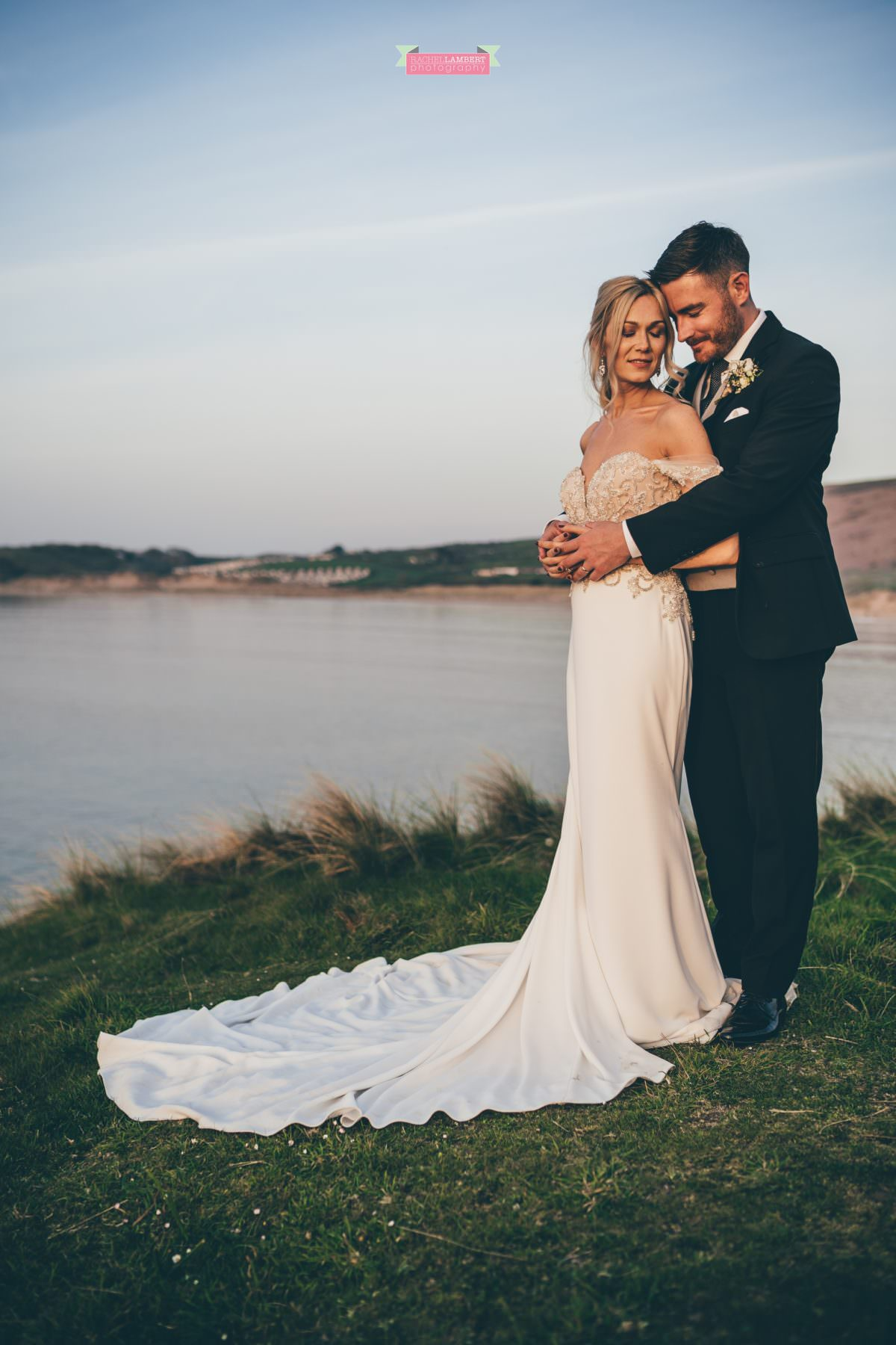 Fairyhill cardiff wedding photographer broughton bay bride and groom pronovious bridal gown