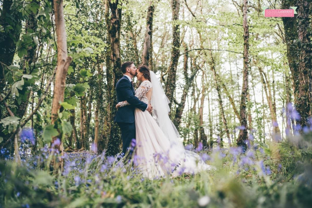 cardiff wedding photographer llanerch vineyard woodland walk bluebells couple shots
