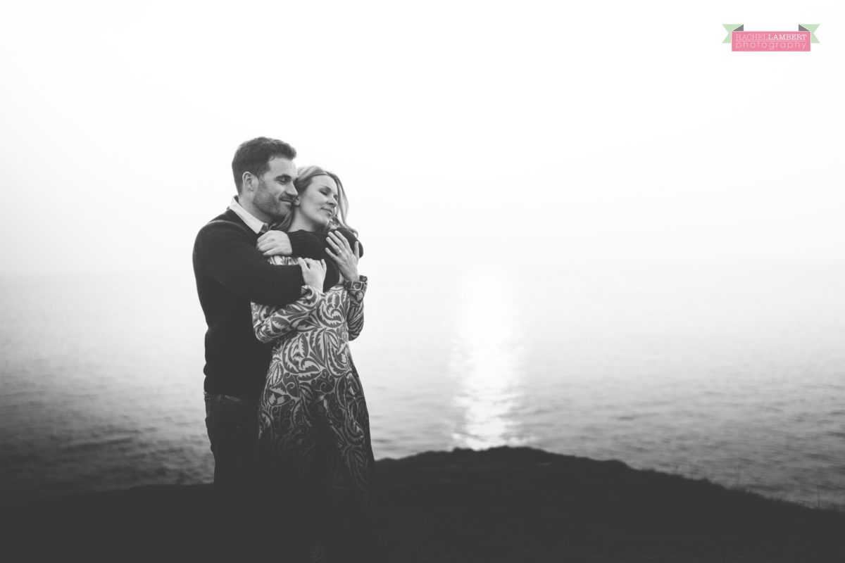 Together Shoot Cardiff Wedding Photographer golden hour black and white portrait