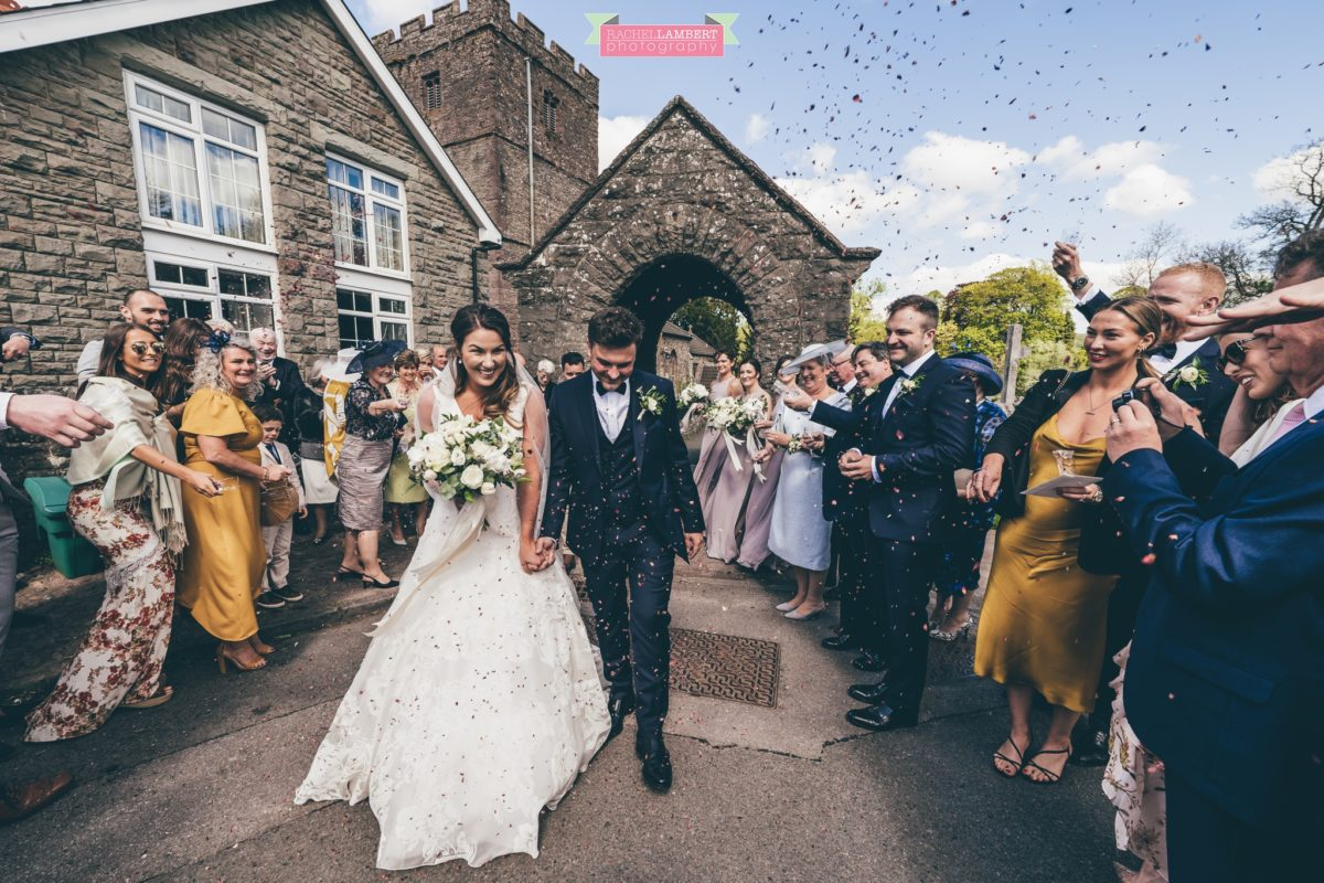 glanusk esate wedding rachel lambert photography st catwg's church llangatwg confetti