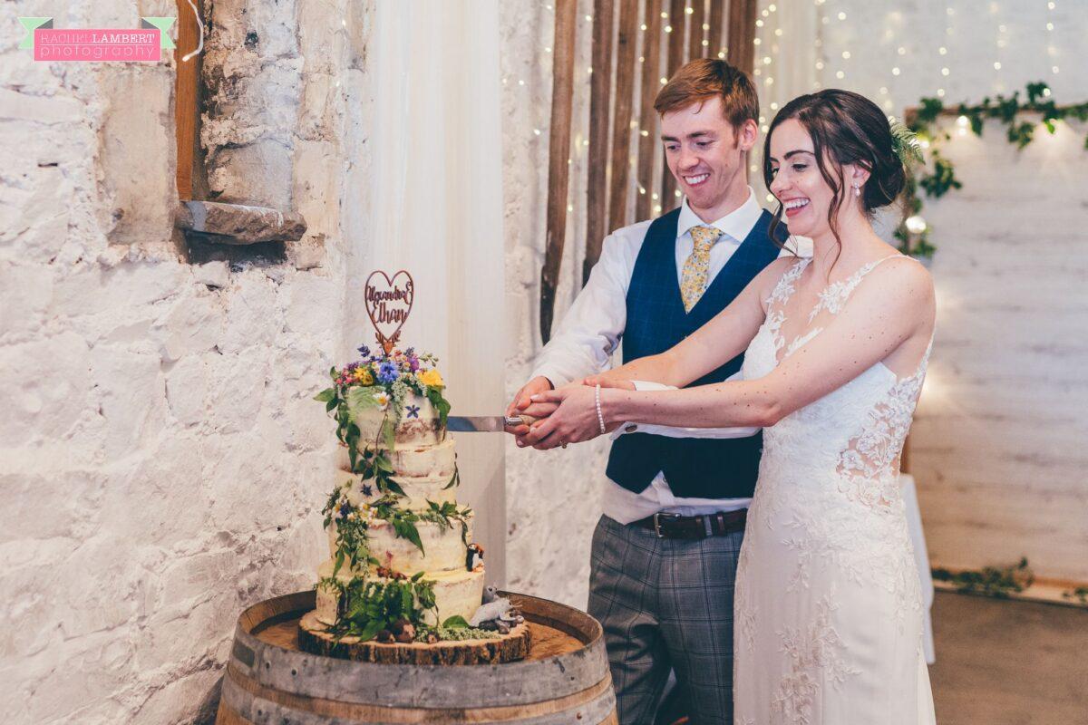 Rosedew Farm Wedding Photographer cutting the cake